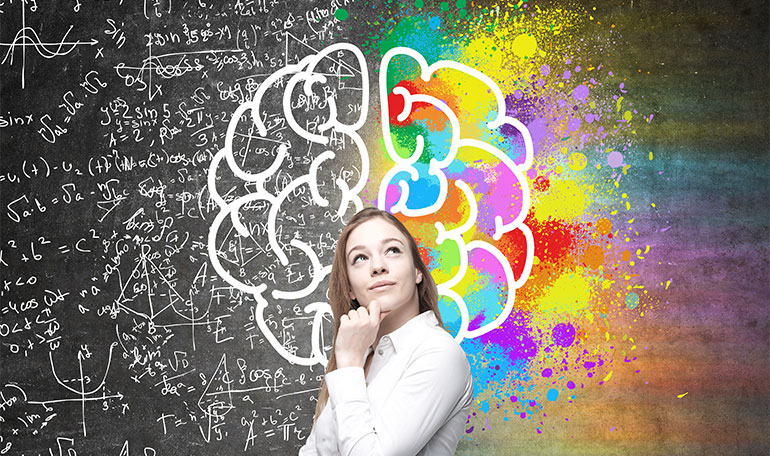 Teenager girl thinking with a colors and equation in the background