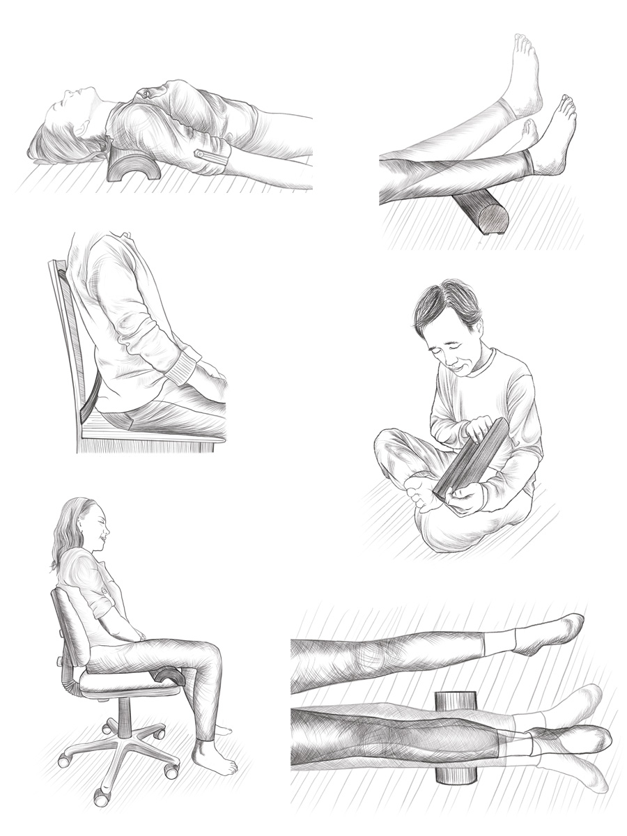 wooden pillow exercise illustrations