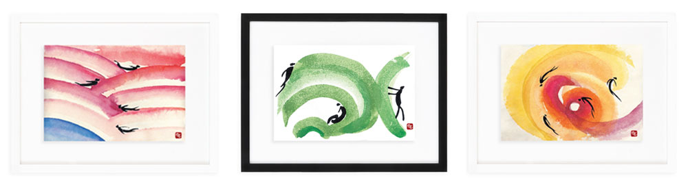 3 Life in Motion Framed Paintings